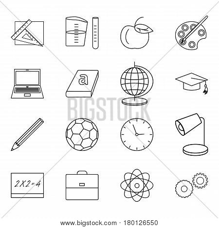 Vector illustration of sixteen thin line icons for school education science set linear symbols.