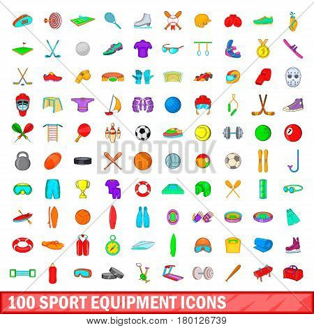 100 sport equipment icons set in cartoon style for any design vector illustration