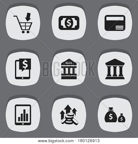 Set Of 9 Editable Finance Icons. Includes Symbols Such As Edifice, Shopping Pushcart, Bar Graph And More. Can Be Used For Web, Mobile, UI And Infographic Design.