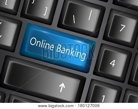Keyboard key with enter button banking online, business concept vector