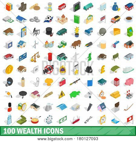100 wealth icons set in isometric 3d style for any design vector illustration