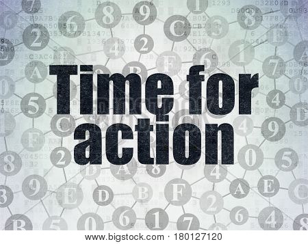 Time concept: Painted black text Time for Action on Digital Data Paper background with  Scheme Of Hexadecimal Code