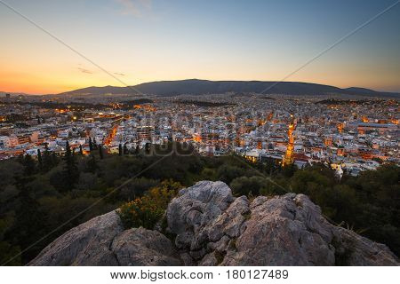 View of Athens from Filopappou hill, Greece.
