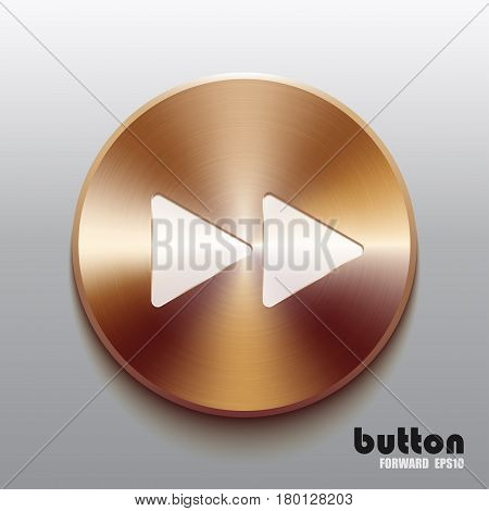 Round minus button with white symbol and brushed bronze texture isolated on gray background