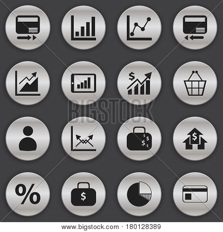 Set Of 16 Editable Logical Icons. Includes Symbols Such As Cash Briefcase, Progress, Bank Payment And More. Can Be Used For Web, Mobile, UI And Infographic Design.