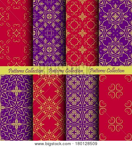 Gold background texture seamless patterns. Golden ornaments on red purple squares. Luxury design elements. Wallpaper, fashion fabric, scrapbooking print. Floral weave decoration. Vintage illustration.