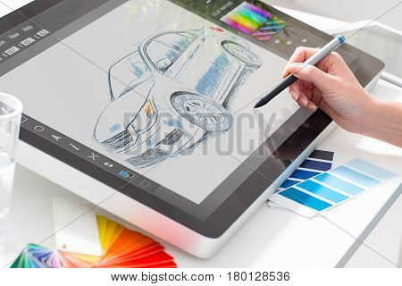 designer graphic drawing car creative creativity draw work tablet.