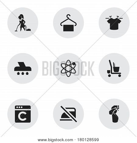 Set Of 9 Editable Dry-Cleaning Icons. Includes Symbols Such As Exhauster, Laundress, Housekeeping Cart And More. Can Be Used For Web, Mobile, UI And Infographic Design.