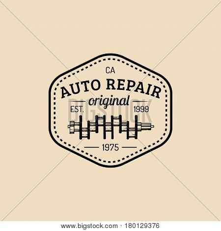 Car repair logo with crankshaft illustration. Vector vintage hand drawn garage, auto service advertising poster, card etc.