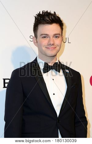LOS ANGELES - FEB 26:  Chris Colfer at the Elton John Oscar Viewing Party 2017 at the City of West Hollywood Park on February 26, 2017 in West Hollywood, CA