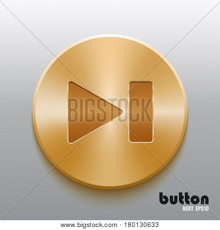 Forward next round button with brushed golden metal texture isolated on gray background