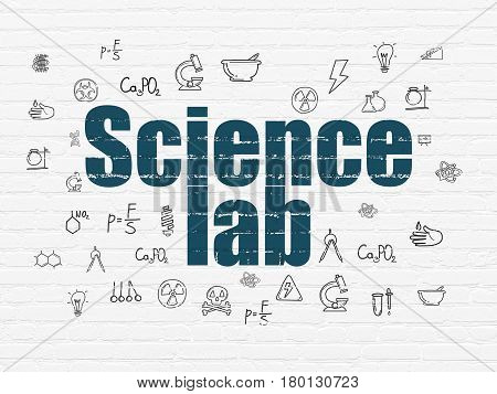 Science concept: Painted blue text Science Lab on White Brick wall background with  Hand Drawn Science Icons
