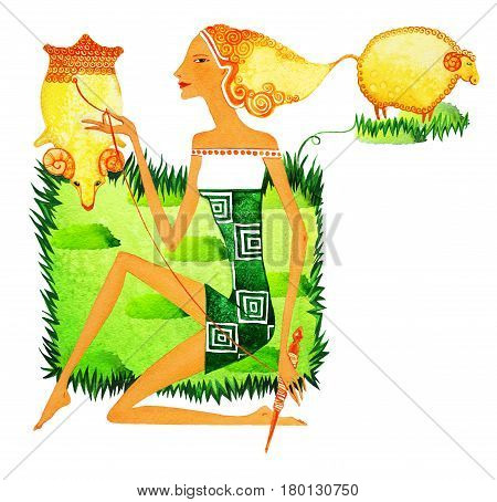 Barefoot girl in the image of a cowherd boy as a symbol of the sign of the zodiac of Aries. A young girl spins yarn from a fleece sitting on a green lawn among grazing sheep.