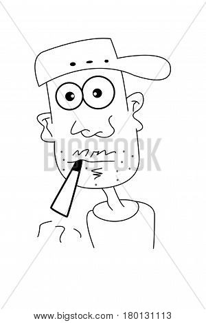 Infographic of a smoker on a white background to understand a concept that smoking is bad