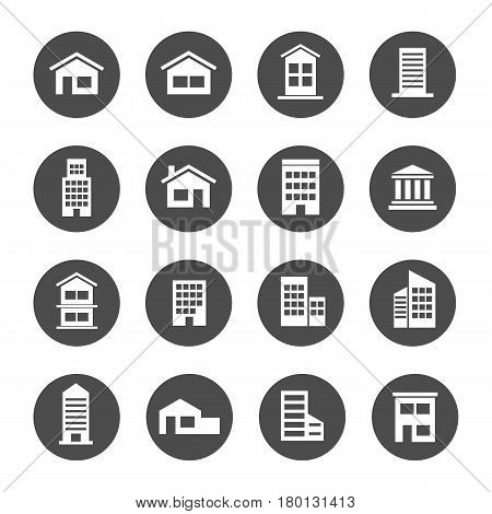 home house building residence icon set condo