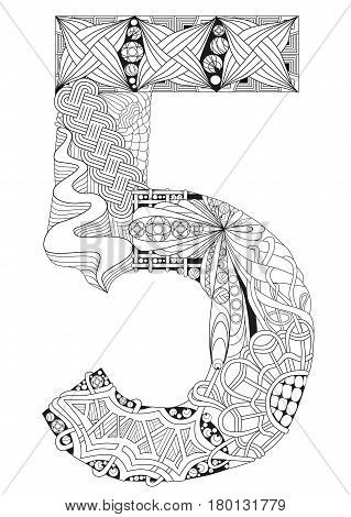 Hand-painted art design. Adult anti-stress coloring page. Black and white hand drawn illustration for coloring book. Number five zentangle object.