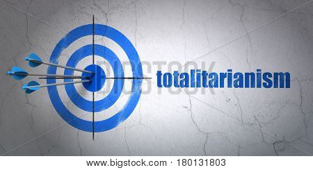 Success political concept: arrows hitting the center of target, Blue Totalitarianism on wall background, 3D rendering