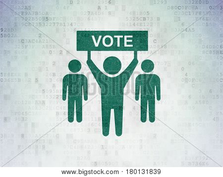 Politics concept: Painted green Election Campaign VOTE icon on Digital Data Paper background