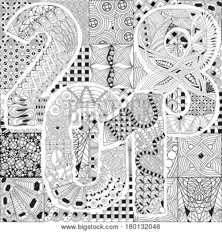 Vector Adult Coloring Book Textures. Hand-painted art design. Adult anti-stress coloring page. Black and white hand drawn illustration for coloring book. Number 2018 zentangle object on different textures