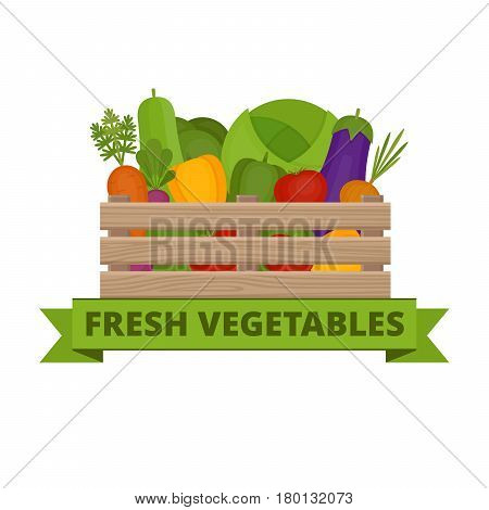 Fresh Vegetables In A Box. Vegetable Garden. Organic And Healthy Food. Banner With Vegetable. Flat S