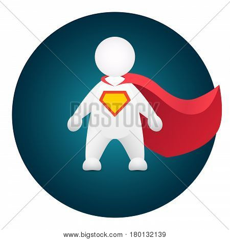 Superhero cartoon personage in red mantle and hero sign on breast