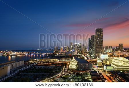 Miami city downtown at night Floride USA