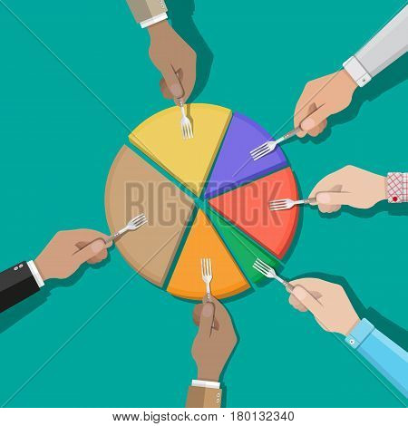 Businessmans hands with fork picking pie chart parts. Financials, market concepts. Vector illustration in flat style