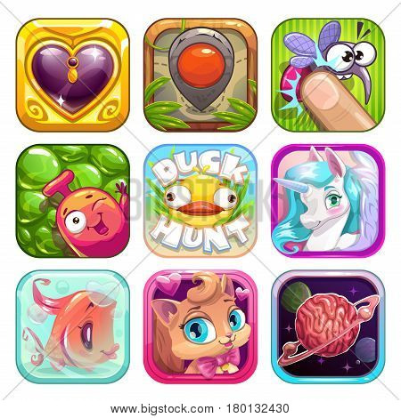 Funny cartoon app icons for game design. Vector GUI elements set. Application store assets poster