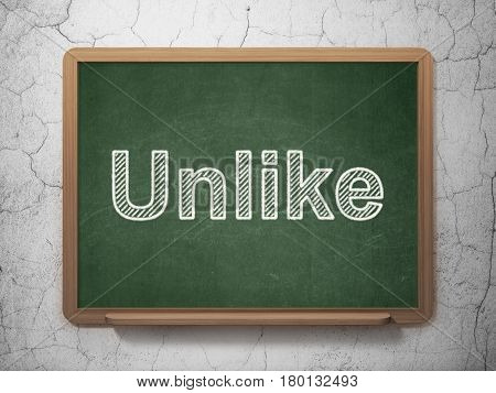 Social media concept: text Unlike on Green chalkboard on grunge wall background, 3D rendering