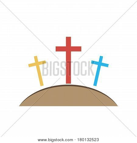 Colored Calvary icon with three crosses on light background. Vector illustration. Calvary sign in flat design.