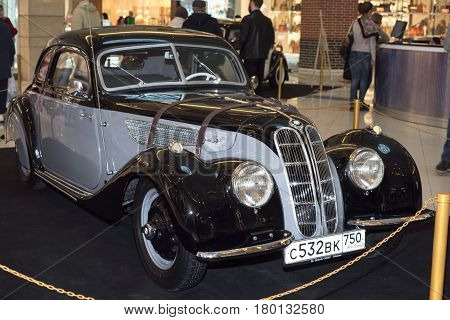 Moscow, Russia - April 02, 2017: BMW-327/28 Coupe, Germany 1939. Retro car exibition in shopping mall Metropolis.