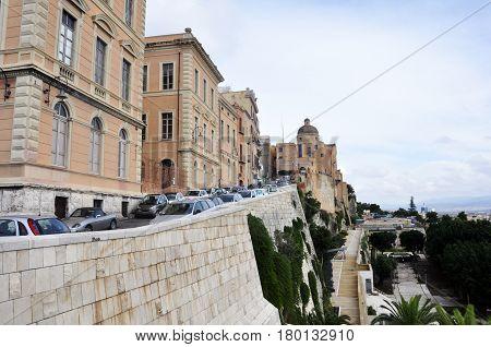 downtown Cagliari Sardinia Italy Bastione San Remy square in castello district