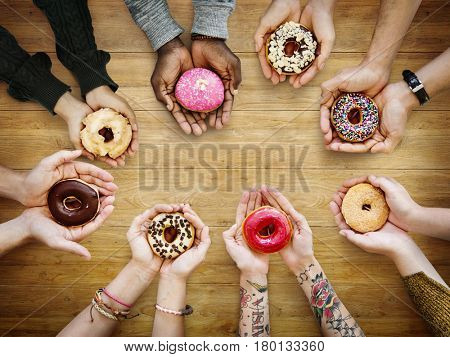 People Hands Hold Share Doughnut