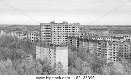 Apartment blocks in ruins Pripyat, Ukraine black and white