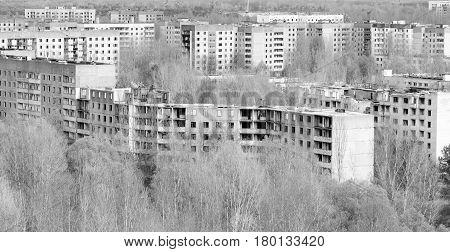 Abandoned and ruined apartment blocks in Pripyat, Ukraine