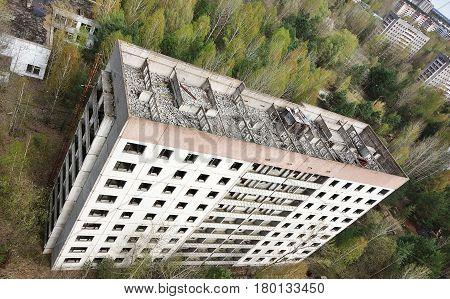 Abandoned apartment building in ruins Pripyat, Ukraine