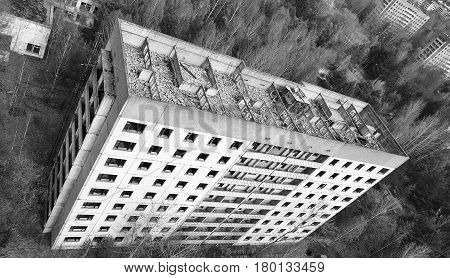 Abandoned apartment building in Pripyat city, Ukraine