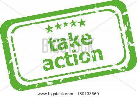 Take Action Grunge Stamp Sign Text Word Logo