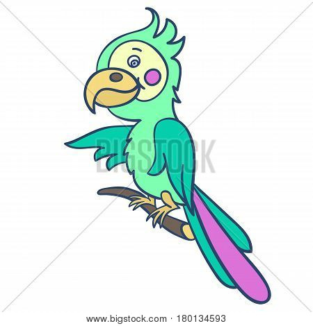 A bright green parrot on a branch.Vector illustration for children.Cute cartoon Bird with a big beak on a white background.The isolated image.