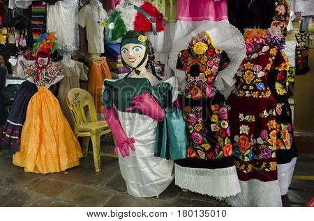 OAXACA, MEXICO - MARCH 11, 2017: Typical clothes at the market in Oaxaca, Mexico.