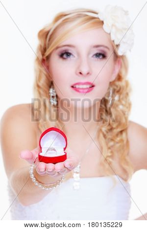 Bride Showing Proposal Ring