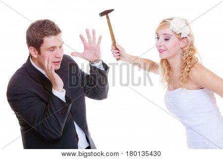 Groom And Bride Having Quarrel Argument