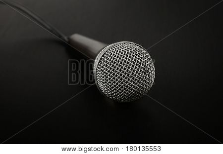 Microphone With Cable High Angle Close Up Over Black
