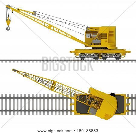 Train crane railcar isolated on white. 3d rendering