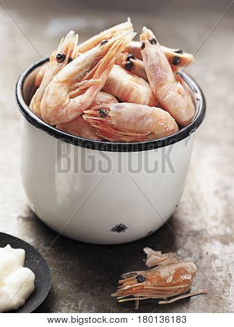 close up of rustic english pub grub pint of prawns