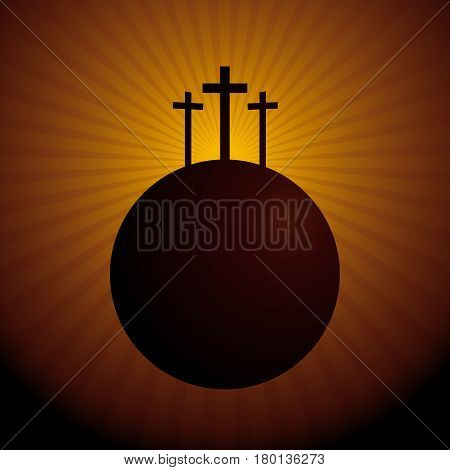 World silhouette with the three crosses above symbolizing the crucifixion of Christ - Vector image