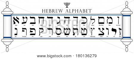 Set of Hebrew Alphabet written in the Torah on white background - Vector image