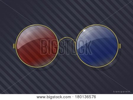 Vintage round 3D glasses in brass rim. Vector graphics with transparency effect
