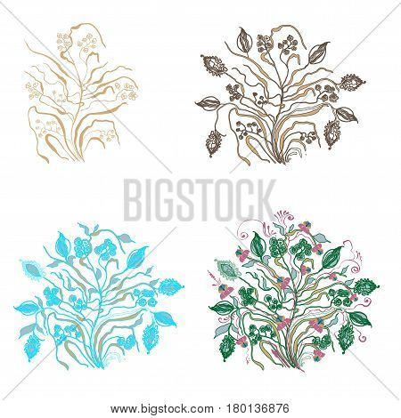 Options composition abstract plants with flowers and additional elements  the set of four drawings. Square vector illustration on white background.