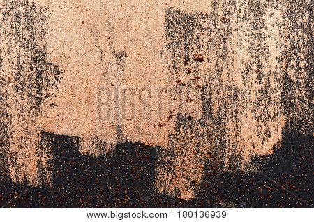 Brush Strokes of golden Paint on dark Surface with Place for Text